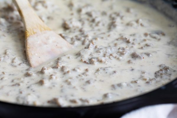 Homemade Sausage Gravy in a Skillet