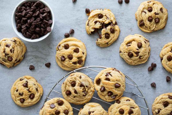 batch of chocolate chip pudding cookies