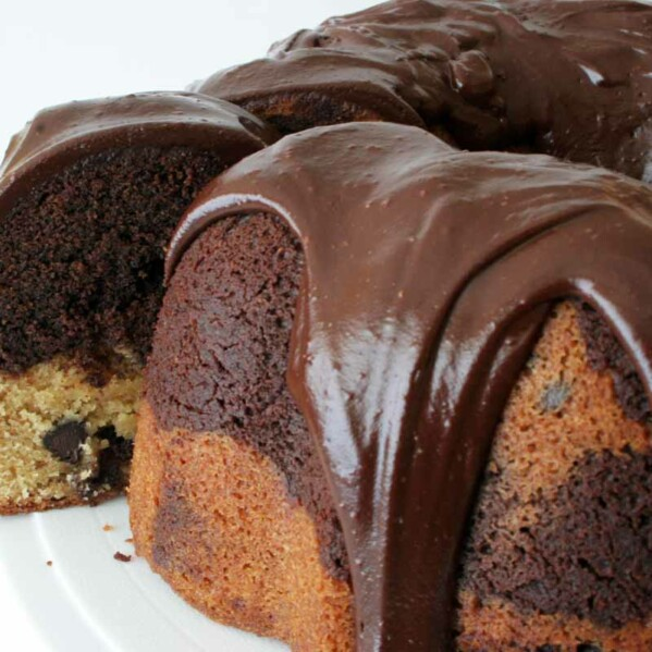 Marbled Chocolate Peanut Butter Cake