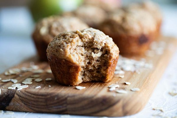 texture of Oatmeal Muffins with Applesauce