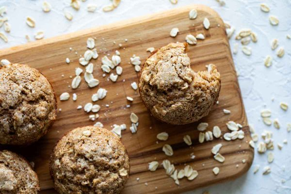 tops of oatmeal muffins