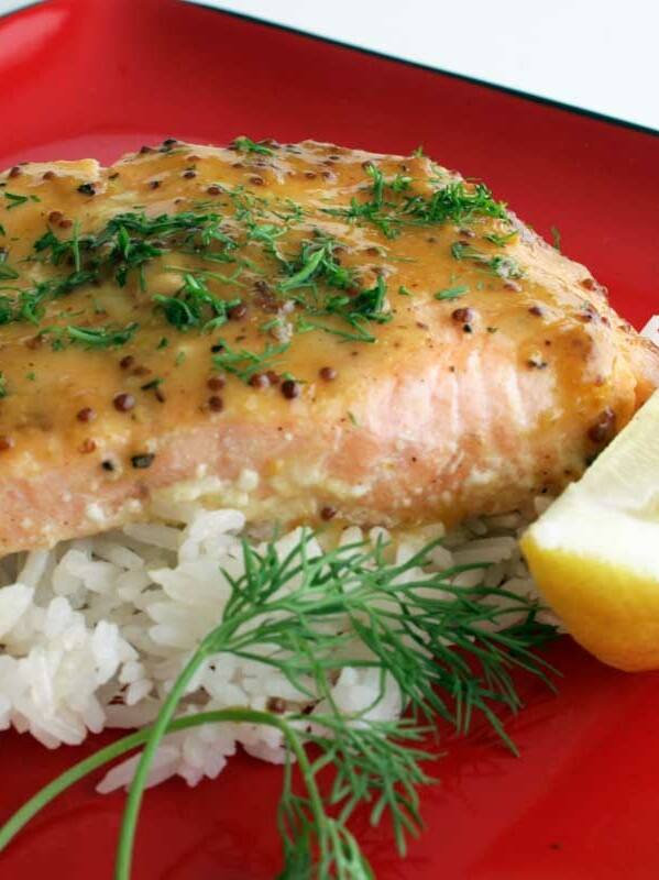 Roasted Salmon with Sweet and Hot Mustard Glaze