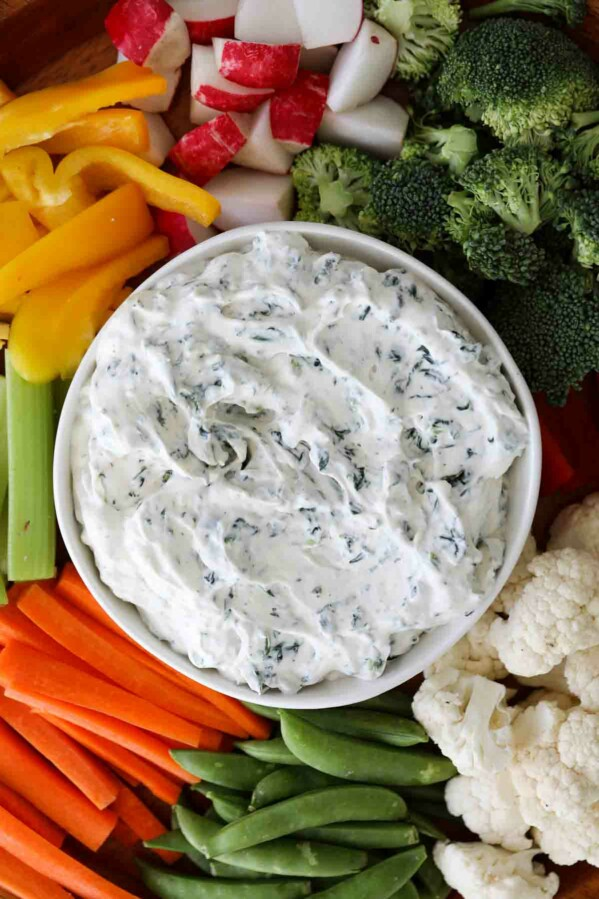 close up of spinach dip