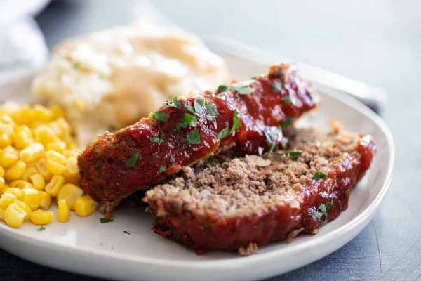 slices of meatloaf on a plate
