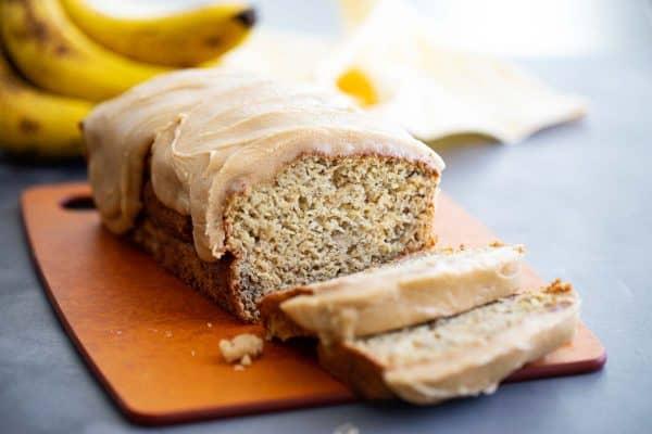 Loaf of banana bread cut