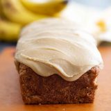 banana bread topped with caramel icing