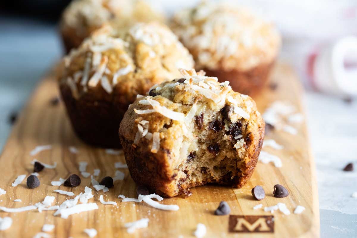 texture of banana muffins with chocolate chips