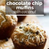 banana muffins with text overlay