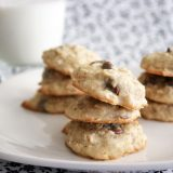stacks of banana oatmeal cookies on a plate