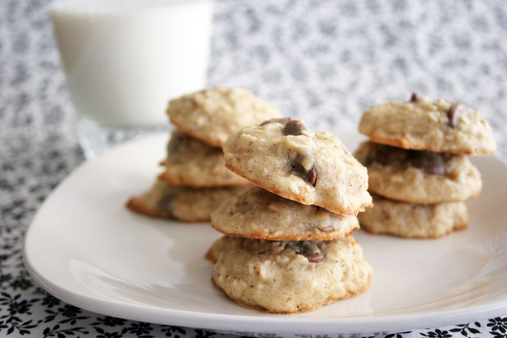stacks of banana oatmeal cookies on a plate