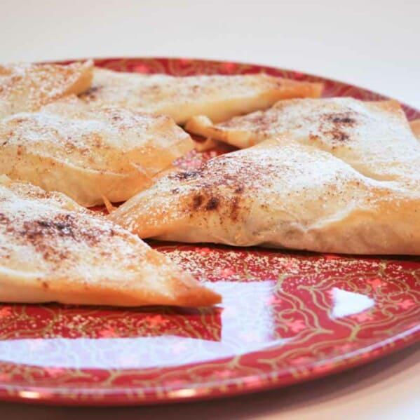 Banana and Chocolate Empanadas on a plate