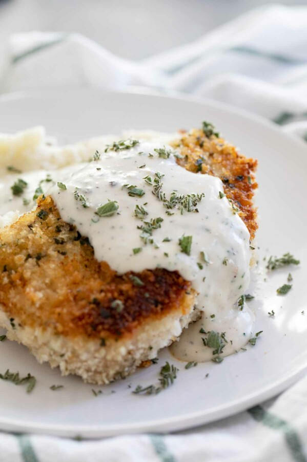 Breaded Pork Chops with herbed gravy