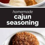 2 photos of cajun seasoning mix plus text