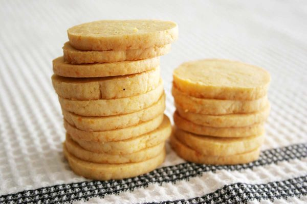 Stack of Cheddar Cornmeal Icebox Crackers