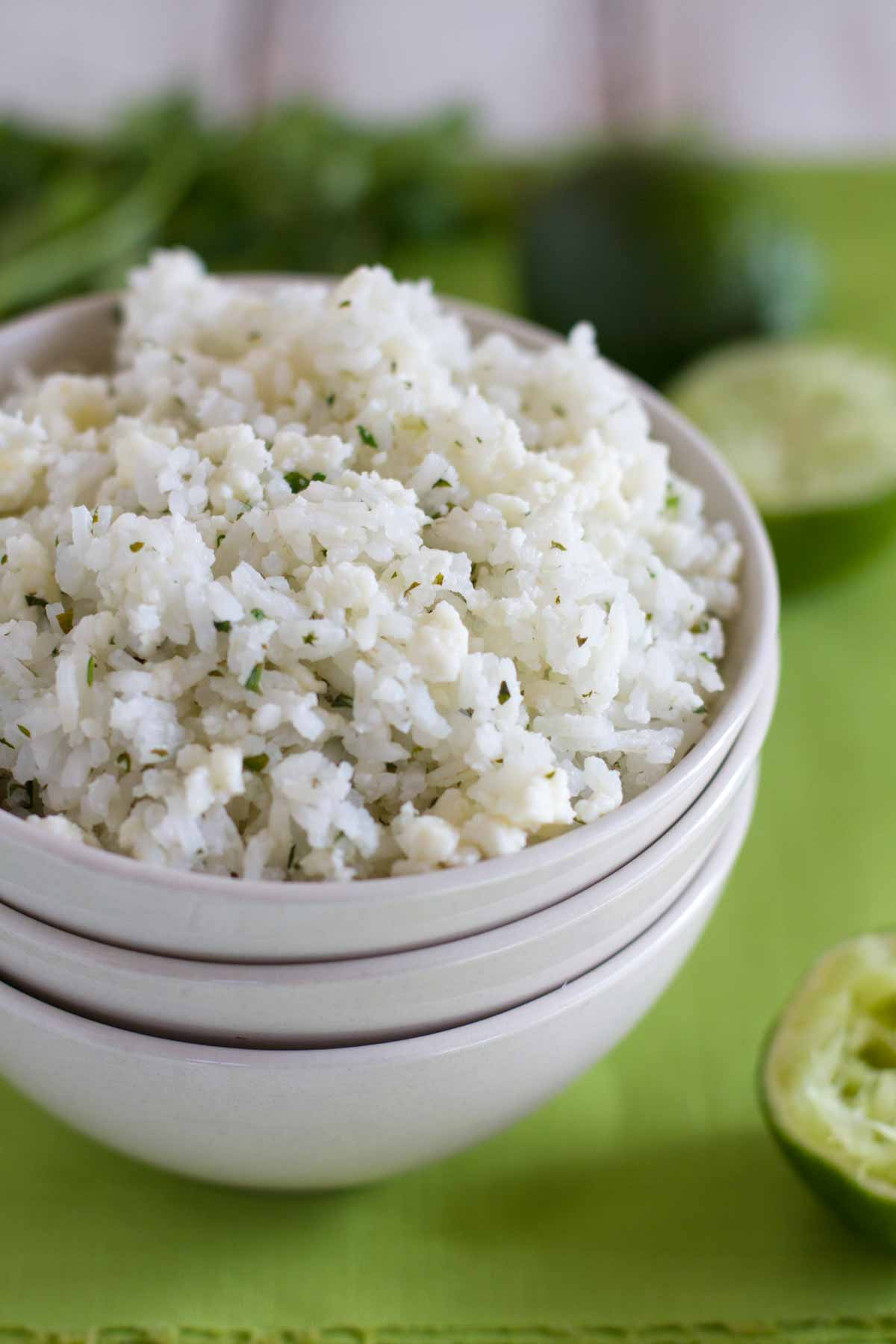 Cilantro Lime Rice in a stack of bowls