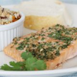 Cumin Coriander Crusted Salmon on a plate