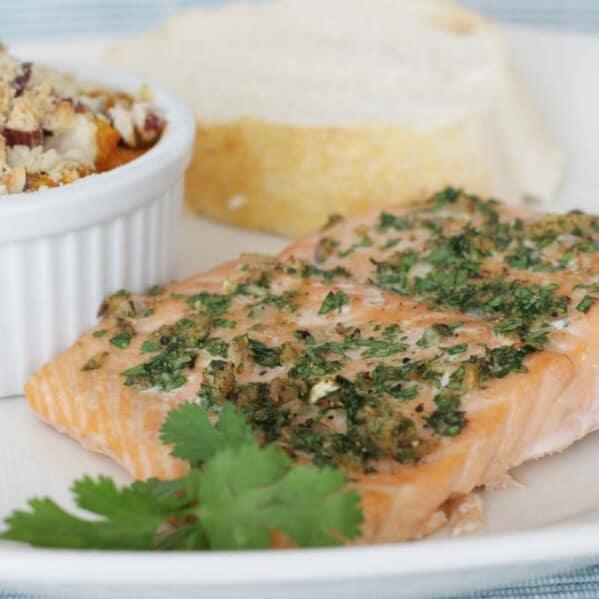 Cumin Coriander Crusted Salmon on a plate