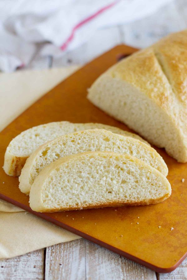 loaf of Danish French bread cut into slices