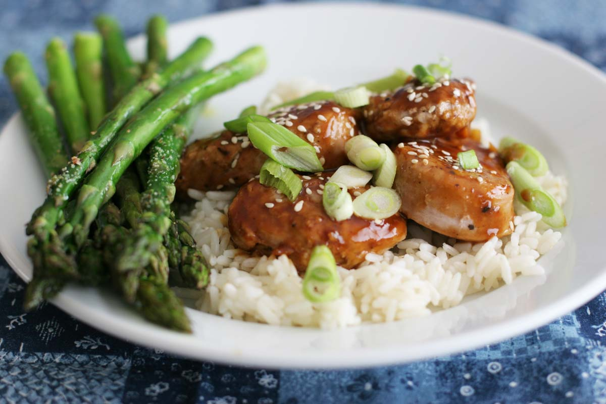 Easy Pork with Hoisin Sauce on rice with asparagus