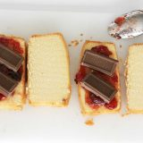 Making a grilled chocolate sandwich with pound cake