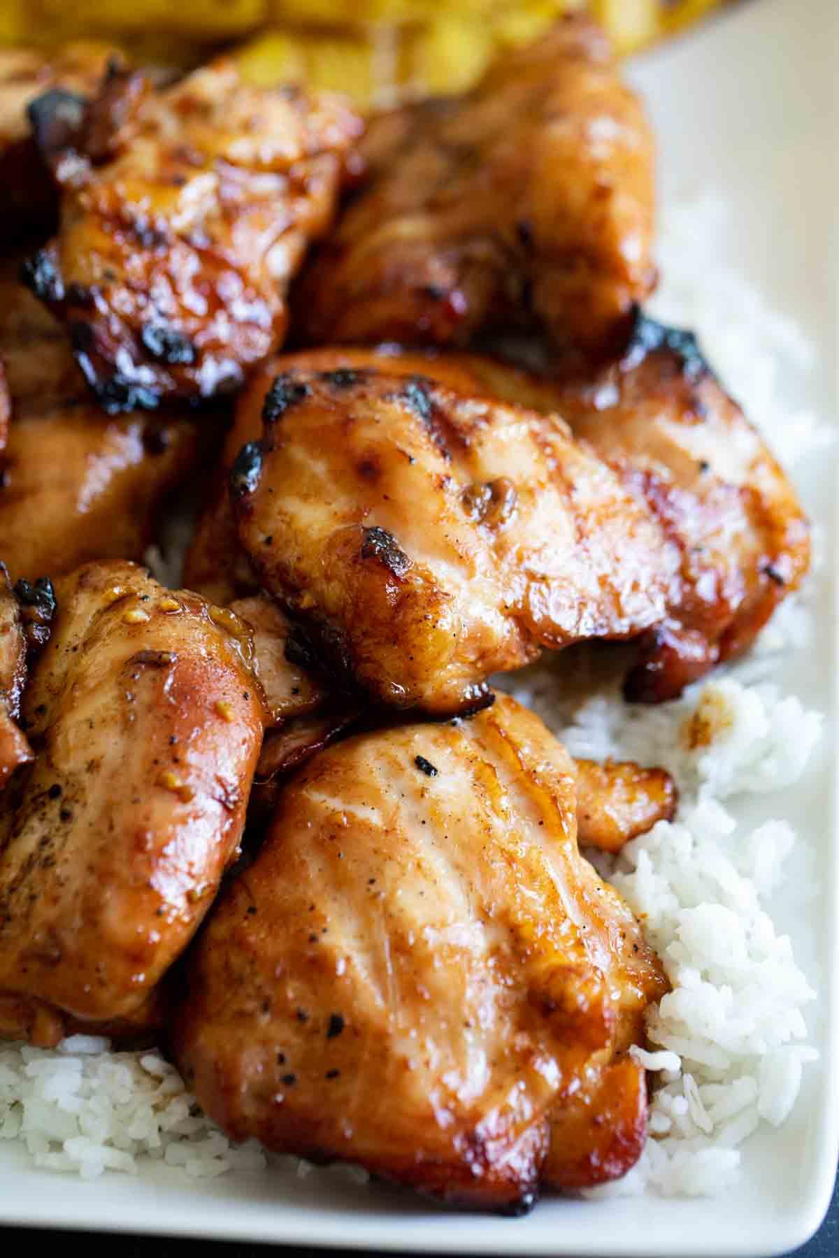 Huli Huli Chicken served on a bed of rice