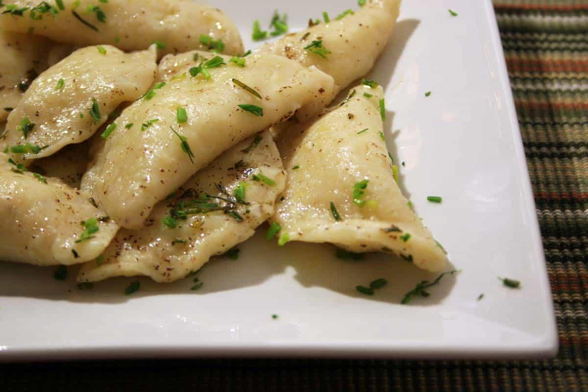 plate with homemade pierogi