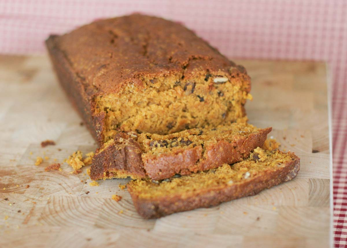 loaf of sliced pumpkin nut bread