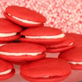 red velvet whoopie pies with red background