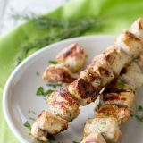 grilled chicken marinated with rosemary and ranch on skewers