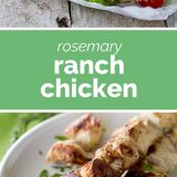 rosemary ranch chicken with text in the middle