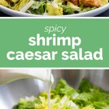 spicy shrimp Caesar salad photos with text in the middle
