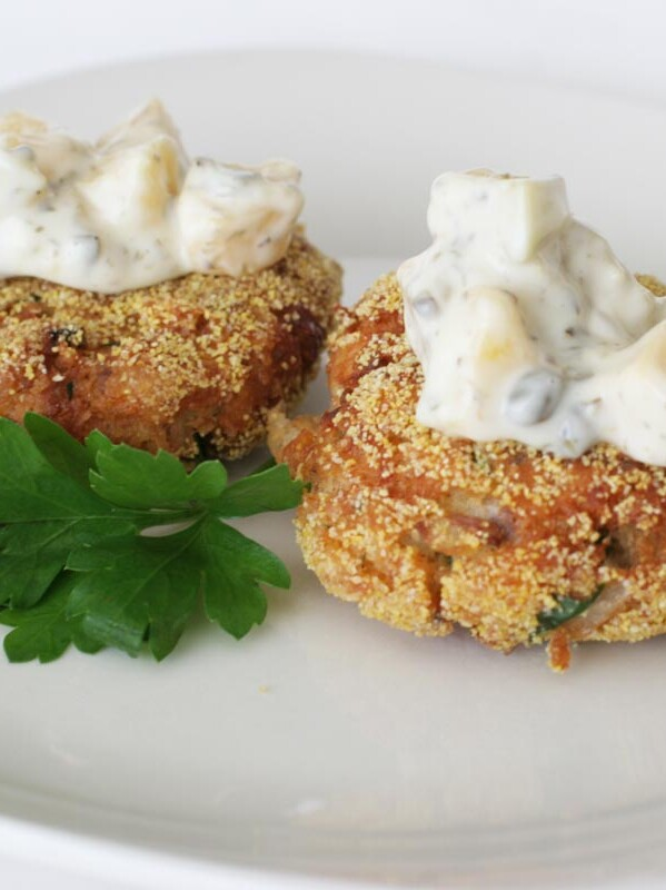 Salmon Cakes with Mango Tartar Sauce on top