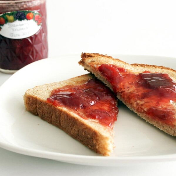 Toast topped with strawberry rhubarb jam