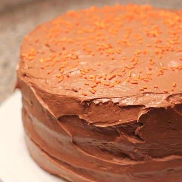 Whole sweet potato cake with chocolate icing