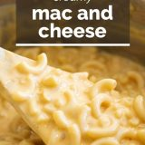 spoonful of macaroni and cheese with text overlay