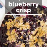 blueberry crisp with text overlay