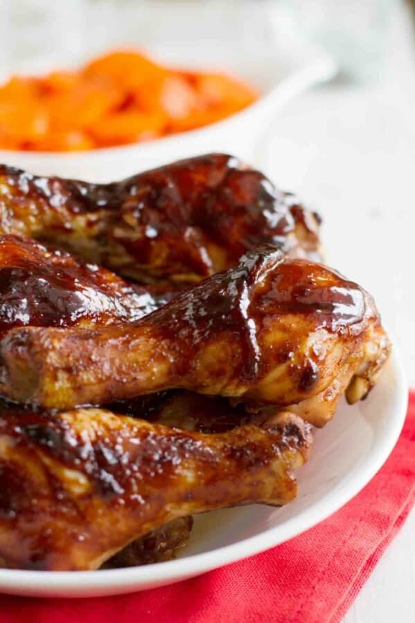 plate with hoisin glazed chicken drumsticks