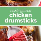 hoisin glazed chicken photos with text in the middle