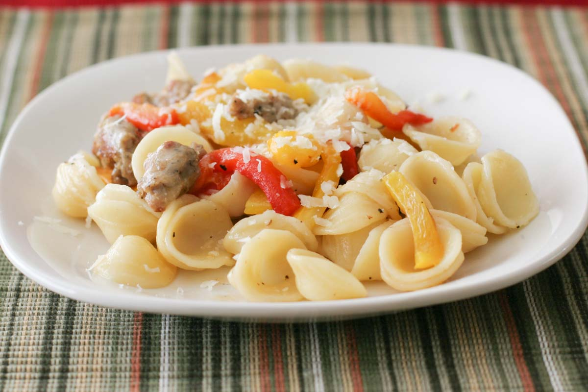 orecchiette pasta with Italian sausage and bell peppers