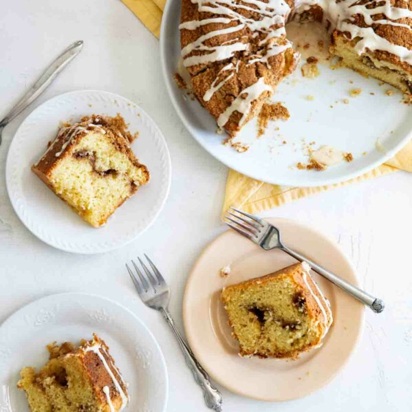 top view of coffee cake with slices