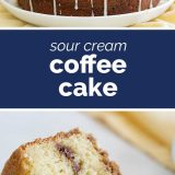 photos of coffee cake with text in the middle