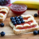 4th of July Breakfast Toast with blueberries and strawberry jam