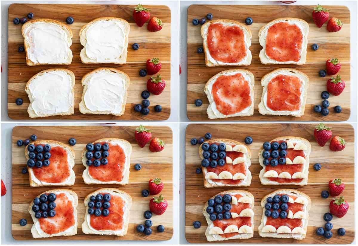steps to make 4th of July Breakfast Toast