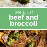 2 photos of homemade Beef and Broccoli with text
