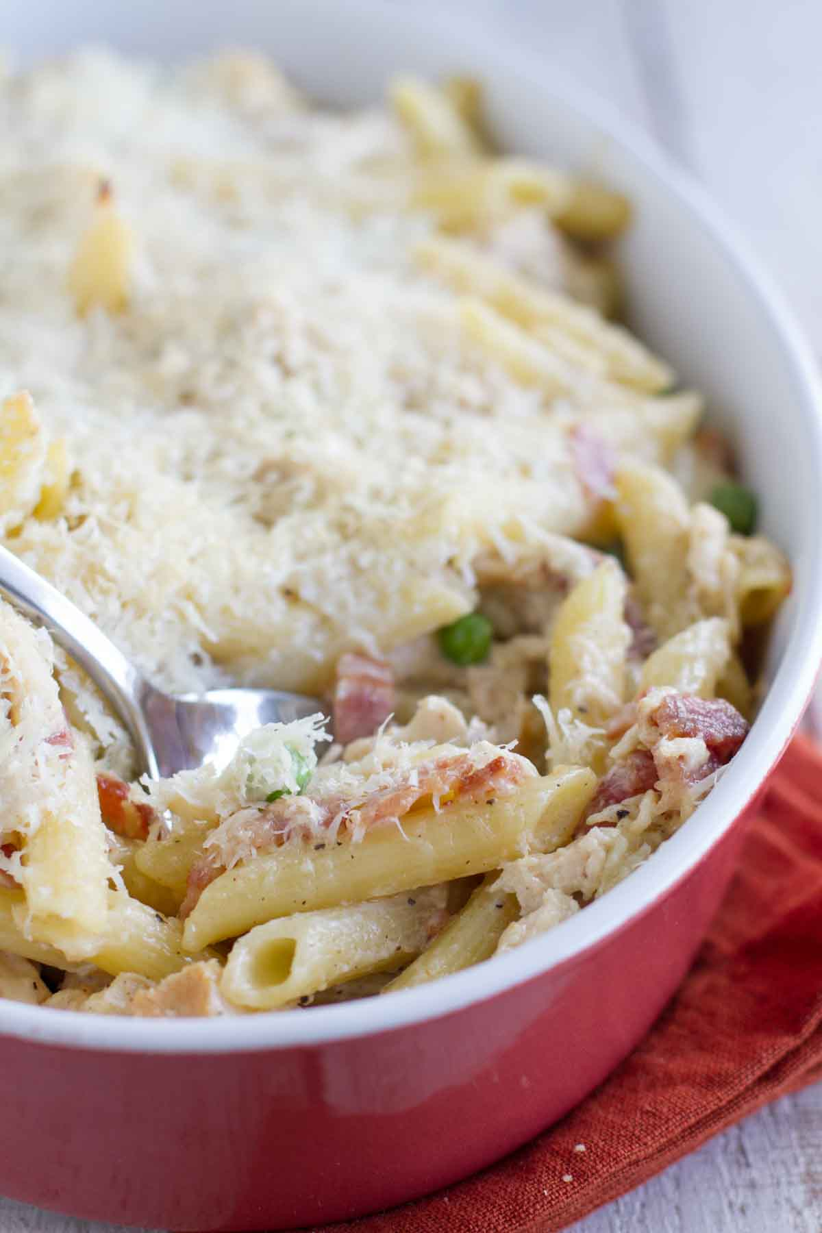 Chicken and Bacon Pasta in a casserole dish