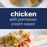 Chicken with Parmesan Cream Sauce with text in the middle