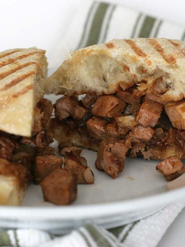 panini filled with seasoned pork roast