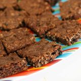 Chocolate Oatmeal Chippers on a striped plate