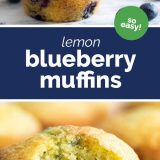 two photos of lemon muffins with blueberries with text in the middle