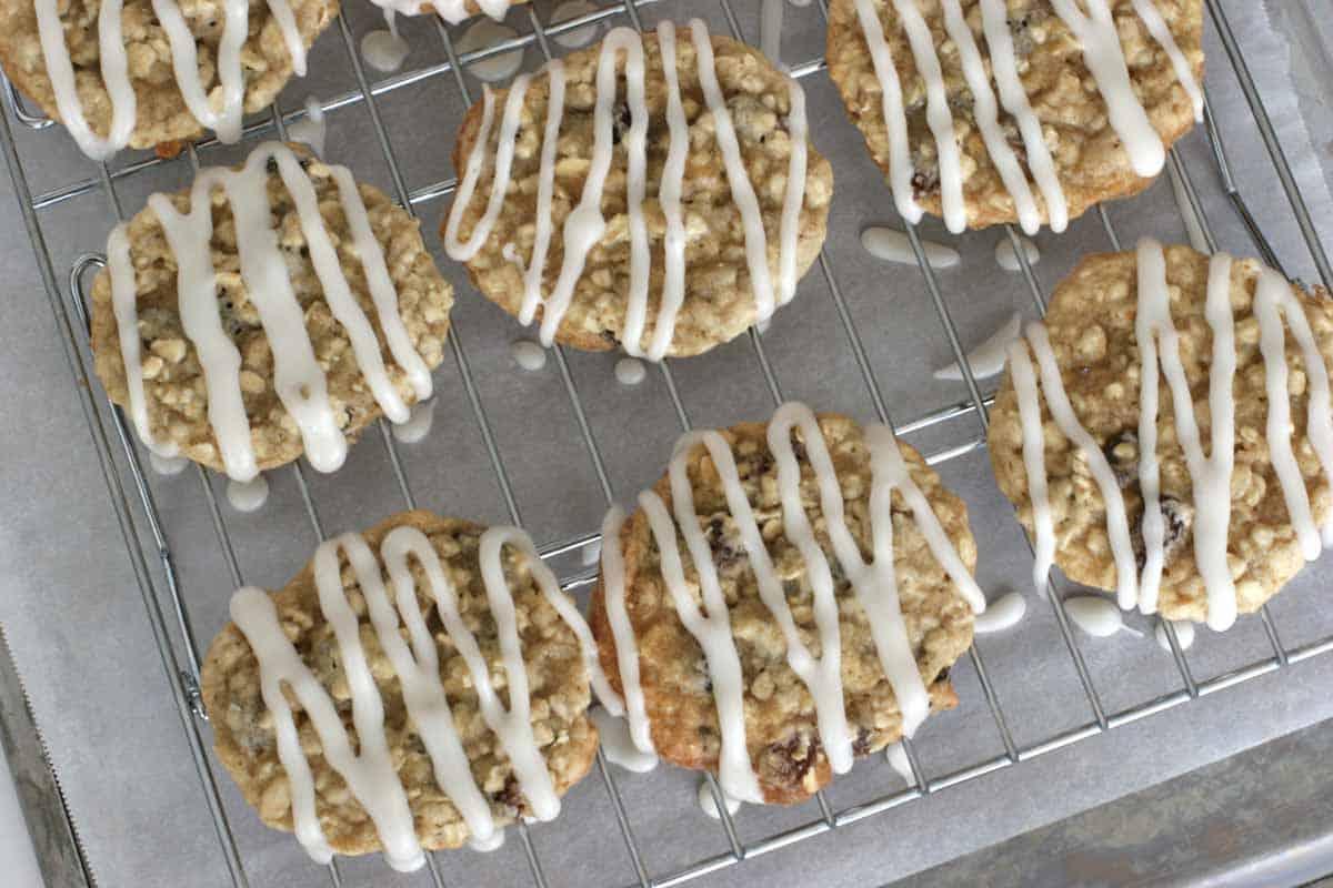 overhead view of Iced Oatmeal Applesauce Cookies
